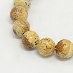 Perles rondes image de jaspe brins, chameau, 8mm, trou: 0.8mm; environ 48 pcs/chapelet(G-GSR8mmC016)