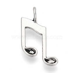 Tibetan Style Alloy Pendants, Musical Note, Cadmium Free & Nickel Free & Lead Free, Antique Silver, 26x14.5x4.5mm, Hole: 2x3mm