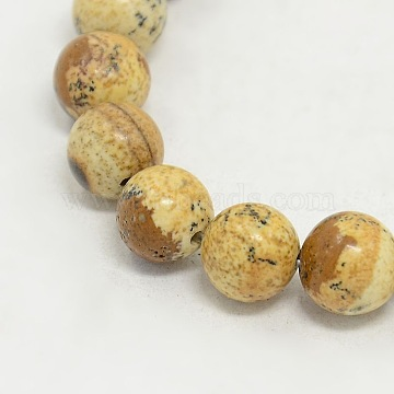 8mm Camel Round Picture Jasper Beads
