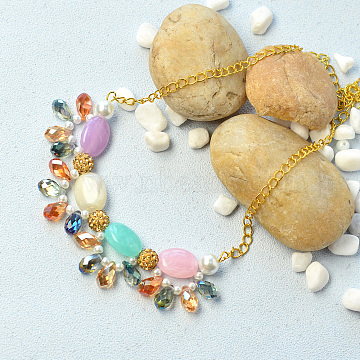 DIY Necklace Kits, Fresh Beaded Bib Statement Necklace, Colorful, 19x15x7.5mm(DIY-JP0003-21)
