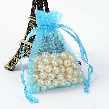 Organza Bags, with Ribbons, Deep Sky Blue, 9x7cm(X-OP-R016-7x9cm-17)