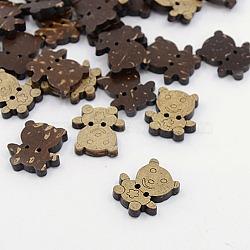 Boutons de noix de coco, 2-trou, ours, coconutbrown, 17x16x3mm, Trou: 1.5mm(X-COCO-I002-091)