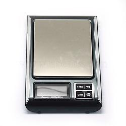 Outil de bijoux, mini balance de poche électronique numérique en aluminium, avec abs, batterie intégrée, rectangle, argenterie, plage de pesée: 0.1 g ~ 3000 g; 180x120x21 mm(TOOL-E006-01)