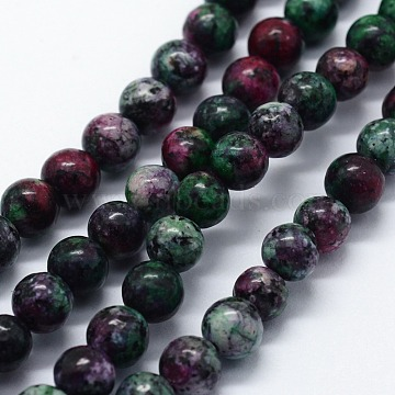 Natural Gemstone Beads Strands, Imitation Ruby in Zoisite, Dyed, Round, 6~6.5mm, Hole: 0.5mm, about 64pcs/strand, 15.16 inches(38.5cm)(X-G-I199-02-6mm)