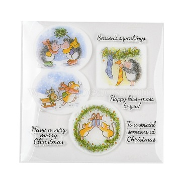 Christmas Plastic Stamps, for DIY Scrapbooking, Photo Album Decorative, Cards Making, Stamp Sheets, Colorful, 16x16x0.3cm(X-DIY-F053-08)