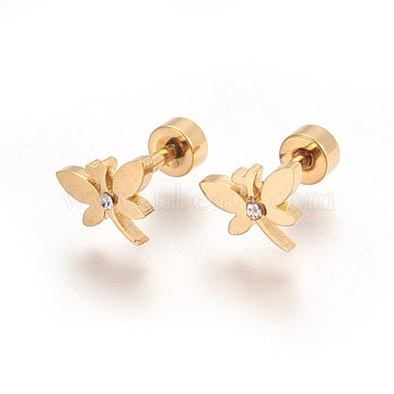 304 Stainless Steel Ear Fake Plugs, Ear Studs, with Rhinestone, Dragonfly, Crystal, Golden, 11mm; Dragonfly: 16.5x8x1.5mm; Pin: 1mm(STAS-I113-19G)