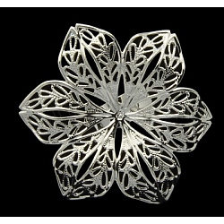 Brass Ring Components, Adjustable Filigree Ring Blank, Lead Free, Silver Color Plated, Size: Ring: about 17mm inner diameter, Tray: about 42mm in diameter(X-KK-H059-S)
