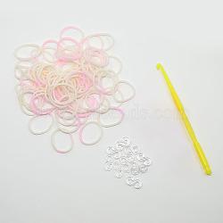 (vente de clôture défectueuse), élastiques teints recharges, avec outils et plastique s-clips, blanc, crochet: 80x6x3 mm; outil: 25x54x7 mm; Clip: 11x6x2 mm; bande: 6x1 mm; sur 260 pcs / sac(DIY-D004-02)