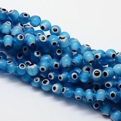 """Chapelets de perle rondes au mauvais œil manuelles, dodgerblue, 6mm, trou: 1mm; environ 65 pcs/chapelet, 14.17""""(X-LAMP-L055-6mm-05)"""