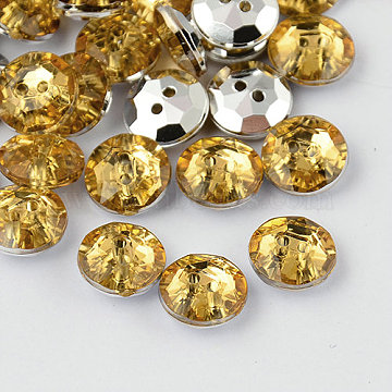 2-Hole Taiwan Acrylic Rhinestone Flat Round Buttons, Faceted & Silver Plated Pointed Back, Light Khaki, 21x7mm, Hole: 1mm(BUTT-F015-21mm-30)