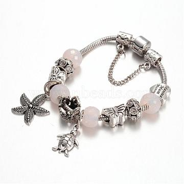 Alloy Rhinestone Bead European Bracelets, with Glass Beads and Brass Chain, OldLace, 180mm(BJEW-L602-15)