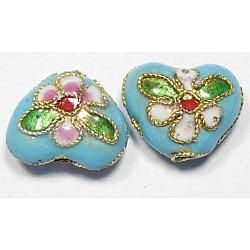 Handmade Cloisonne Beads, Heart, Cyan, 12mm, Hole:2mm(X-CLB052Y-8)