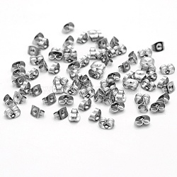 304 Stainless Steel Ear Nuts, Earring Backs, Stainless Steel Color, 6x4x3mm, Hole: 0.7mm