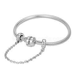 Tinysand® bracelet en argent sterling européen commun avec les chaînes de sécurité, argenterie, 200mm; taille d'emballage: 11x11.4x2.3cm(TS-BS004-S-20)