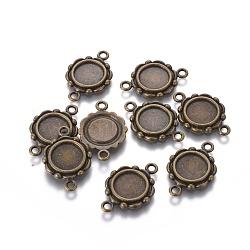 Тибетском стиле сеттинги ссылку кабошон ободок, без свинца, античная бронза, плоско-круглый лоток : 9.5 мм ; 23x15x2 мм, отверстие : 2 мм(TIBEP-0578-AB-LF)