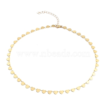 Brass Heart Link Chain Necklaces, Long-Lasting Plated, with 304 Stainless Steel Lobster Claw Clasps, Golden, 16 inches(40.7cm)(NJEW-JN03184-01)