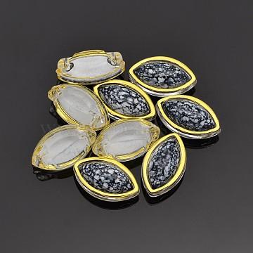Sew on Rhinestone, Multi-strand Links, Taiwan Acrylic, Golden Plated, Garment Accessories, Horse Eye, Black, 12.5x7.5x6mm, Hole: 1mm(X-SA56-5x10-ACG-YSA1)