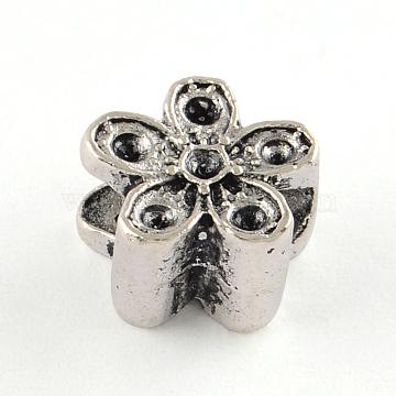 Tibetan Style Alloy European Bead Rhinestone Settings, Lead Free, Flower, Antique Silver, 10.5x10.5x7mm, Hole: 4.5mm; Fit for 1.5mm rhinestone; about 465pcs/1000g(TIBE-R295-071AS-LF)