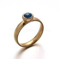 316 acier inoxydable anneaux de fiançailles en strass doigt, zircon bleu, 16~19 mm; 4 mm(RJEW-F046-45B)