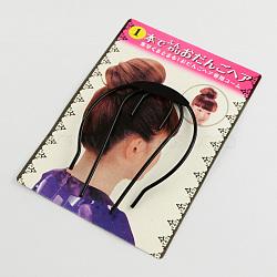 Chignon fabricant de boulettes de fer les cheveux de la tête disque, noir, 90x70x3mm(OHAR-R095-37)
