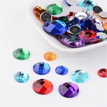 Faceted Imitation Taiwan Acrylic Rhinestone Flat Back Cabochons, Half Round/Dome, Mixed Color, 10~20x3~5mm(GACR-X0002)