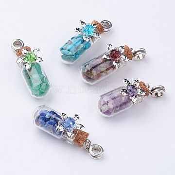 Clear Glass Bottle Gemstone European Dangle Beads, with Glass Beads, 46mm, Hole: 5mm(X-PALLOY-JF00261)