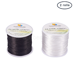 Japanese Flat Elastic Crystal String, Elastic Beading Thread, for Stretch Bracelet Making, Mixed Color, 0.8mm; about 60m/roll; 2roll/set(EW-PH0002-03)