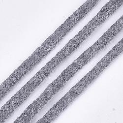 cordons doux en fourrure de vison, corde de nylon, gris, 9~10 mm; sur 110 yards / paquet(OCOR-S115-01F)