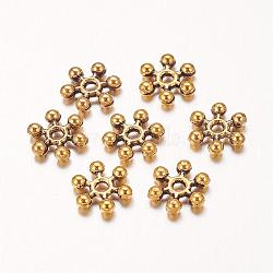 Zinc Alloy Beads Spacers, Cadmium Free & Lead Free, with One Hole, Snowflake, Antique Golden, 8.5x2.5mm, Hole: 1.5mm(X-PALLOY-Q062-AG)