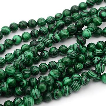 14mm Green Round Malachite Beads