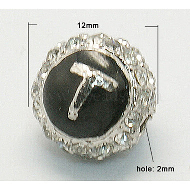 12mm Black Round Alloy Rhinestone+Enamel Beads