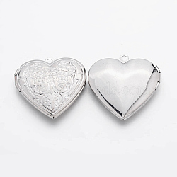 Romantiques idées de jour de valentines pour lui avec vos laiton pendentifs photo médaillon, breloques cadre de photo pour colliers, cœur, platine, environ 29 mm de diamètre, épaisseur de 7mm, Trou: 2mm(X-ECF138)