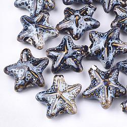 Handmade Porcelain Beads, Fancy Antique Glazed Porcelain, Starfish/Sea Stars, Colorful, 35~36x37~38x15~17mm, Hole: 2~3mm(X-PORC-S498-33B)