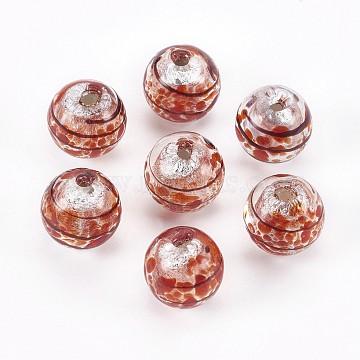 12mm FireBrick Rondelle Silver Foil Beads