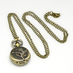 Alloy Flat Round with Cupid/Cherub Pendant Necklace Quartz Pocket Watch, with Iron Chains and Lobster Claw Clasps, Antique Bronze, 31.5inches; Watch Head: 36x27x13mm(X-WACH-N011-41)