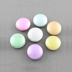 Boutons de bijoux en laiton, avec cabochons de verre peint par pulvérisation, plat rond, platine, couleur mixte, 18x9~10 mm; bouton: 6 mm(X-BUTT-R002-M1)
