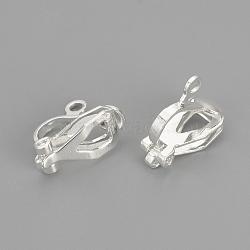 conclusions de boucle d'oreille en laiton, plaqué argent, 12x6x10 mm, trou: 1.5 mm(X-KK-R071-11S)