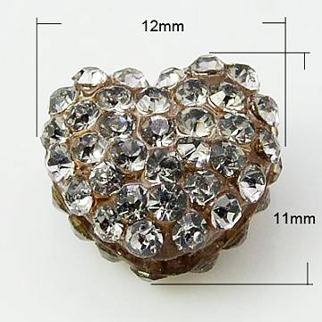 12mm Camel Heart Resin+Rhinestone Beads