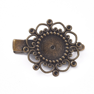 Hair Accessories Iron Alligator Hair Clip Findings, with Brass Filigree Flower Cabochon Bezel Settings, Antique Bronze, Tray: 12mm; 34.5mm; Flower: 28mm(IFIN-L035-01AB-NF)