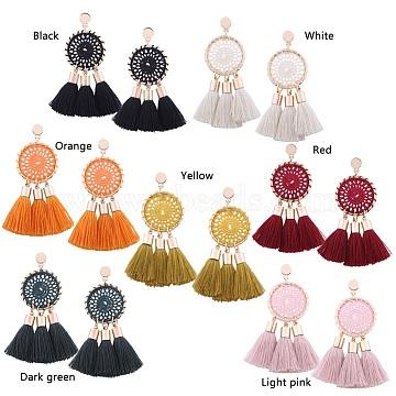Alloy Dangle Stud Earrings, Tassel Earrings, Golden, Mixed Color, 80x50mm(EJEW-K051-05)