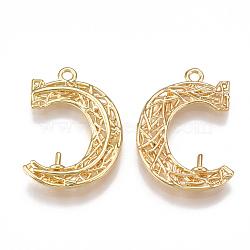 pendentifs en laiton en filigrane, pour la moitié de perles percées, lettre c / lune, véritable plaqué or, 22.5x15.5x3 mm, trou: 1.5 mm; broches: 0.8 mm(KK-T038-28G)