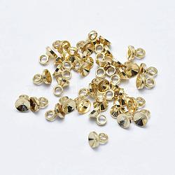 pendentifs en laiton galvanisé, plaqué longue durée, sans nickel, réel 18 k plaqué or, 4x3.5 mm, trou: 2 mm(KK-G331-03G-NF)