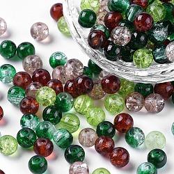 Perles de verre craquelé peintes, choc-menthe mélange, rond, couleur mixte, 6~6.5x5.5~6mm, trou: 1 mm; environ 200 PCs / sachet (DGLA-X0006-6mm-10)