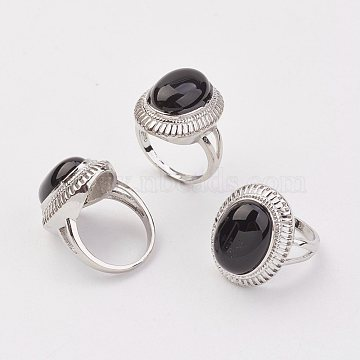 Natural Black Agate Finger Rings, with Alloy Ring Finding, Platinum, Oval, Size 8, 18mm(X-RJEW-P122-20)