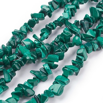 Natural Malachite Beads Strands, Chips, 5~14x4~10x2~6mm, about 32 inches long(X-G-F079-02)