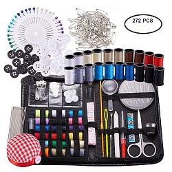 Наборы для шитья и вязания, 272шт швейные принадлежности с кнопками и шпильками и ножницами и карандашом и швейной нитью и вязальными ножами и крючками для крючков и полотняной иглой для ткани(TOOL-BC0001-01)