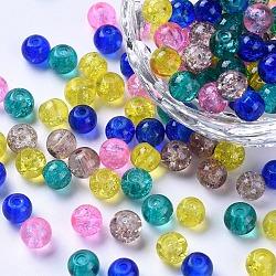 Perles de verre craquelé peintes, pastel mix, rond, couleur mixte, 6~6.5x5.5~6mm, trou: 1 mm; environ 200 PCs / sachet (DGLA-X0006-6mm-04)