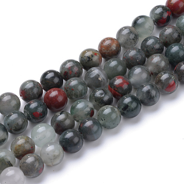 Natural African Bloodstone Beads Strands, Heliotrope Stone Beads, 4~5mm, Hole: 1mm; about 95pcs/strand, 15.7 inches(X-G-R345-4mm-50)