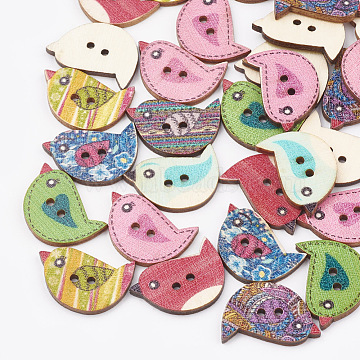 2-Hole Printed Wooden Buttons, Lead Free, Bird, Mixed Color, 23x15.5x2.5mm, Hole: 1.6mm(BUTT-T001-02-LF)