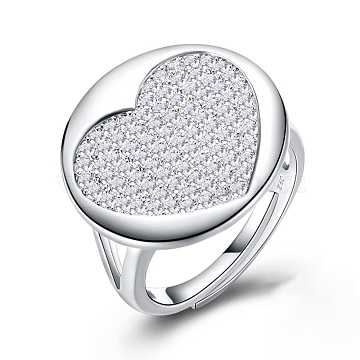 925 Sterling Silver Adjustable Rings, with Micro Pave Cubic Zirconia, Carved 925, Silver(RJEW-BB32761)